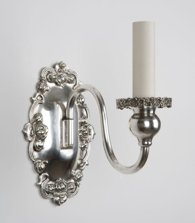 Skandium Wall Lights : A pair of single-arm silver Sheffield sconces at 1stdibs