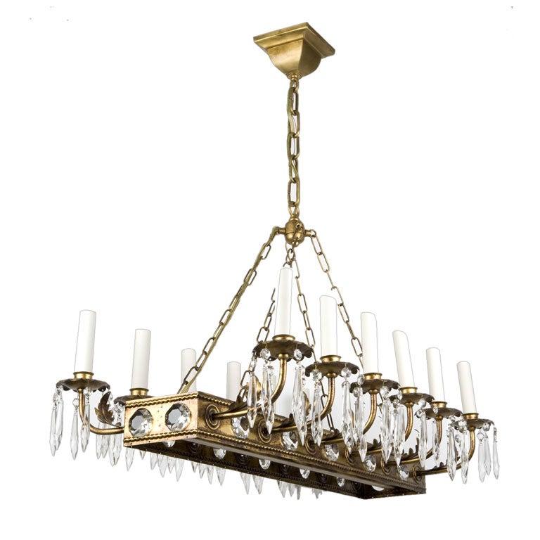 A twelve light linear chandelier at 1stdibs