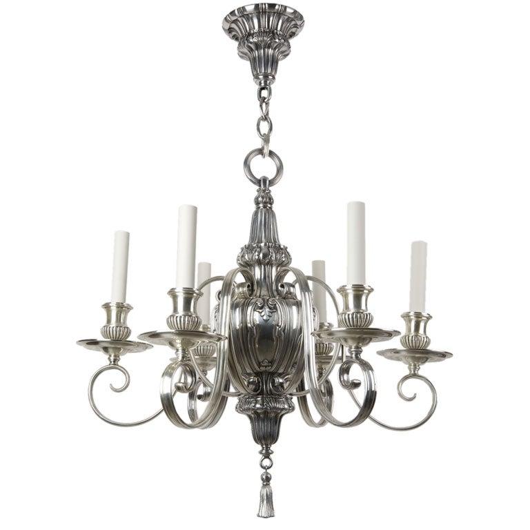 A six arm silverplate chandelier