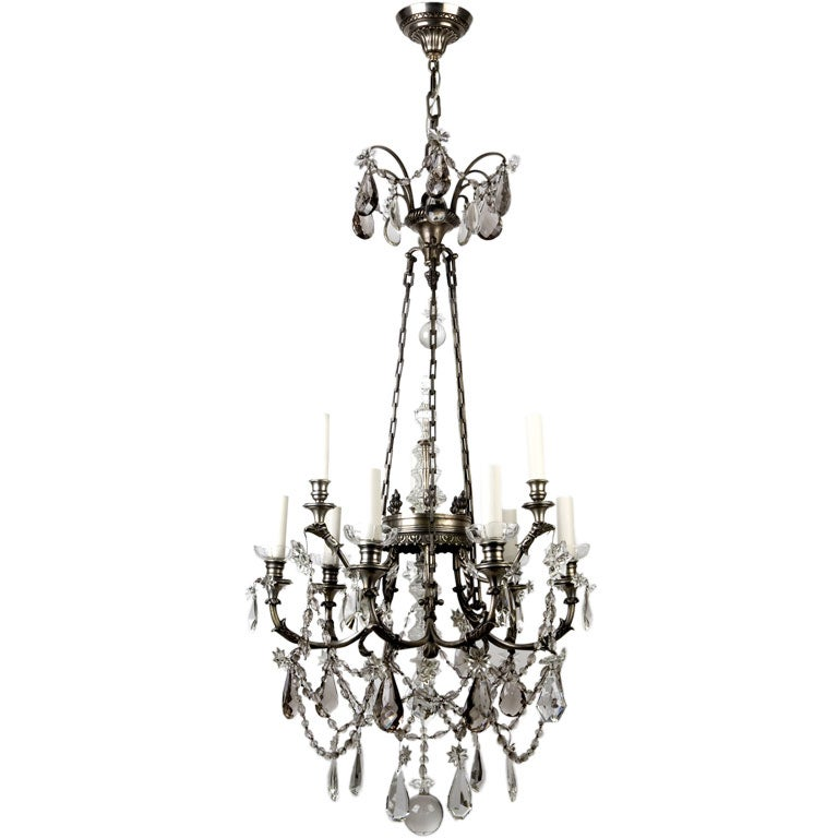 Silvered Bronze And Crystal Chandelier At 1stdibs