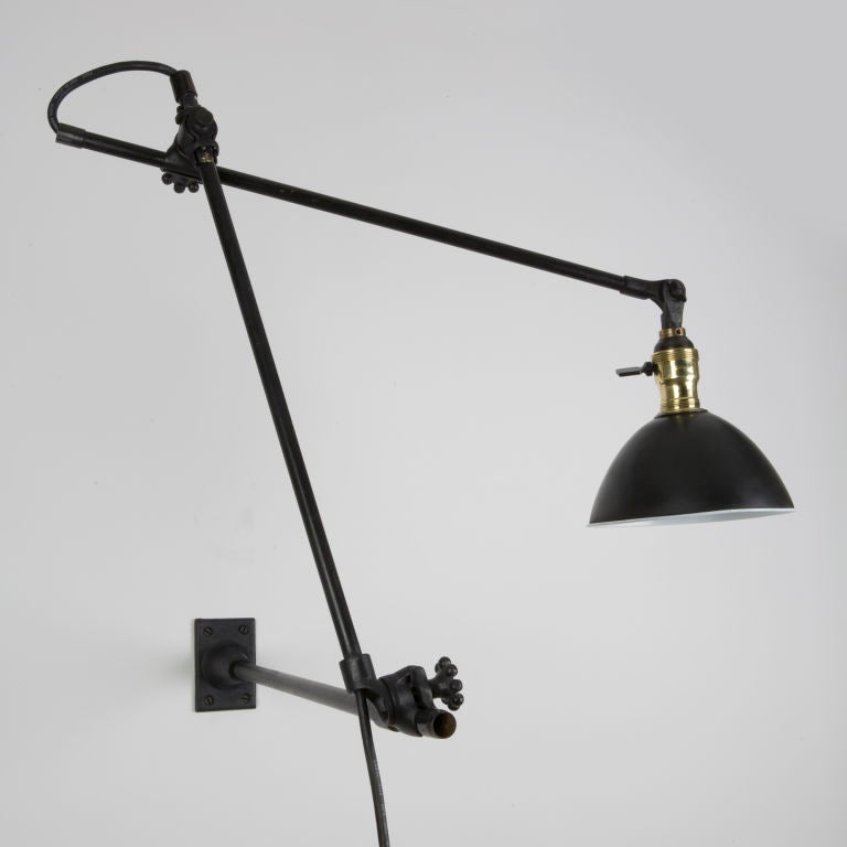 Yasmin Wall Light 2 Arm : An O C White adjustable arm machinist light at 1stdibs