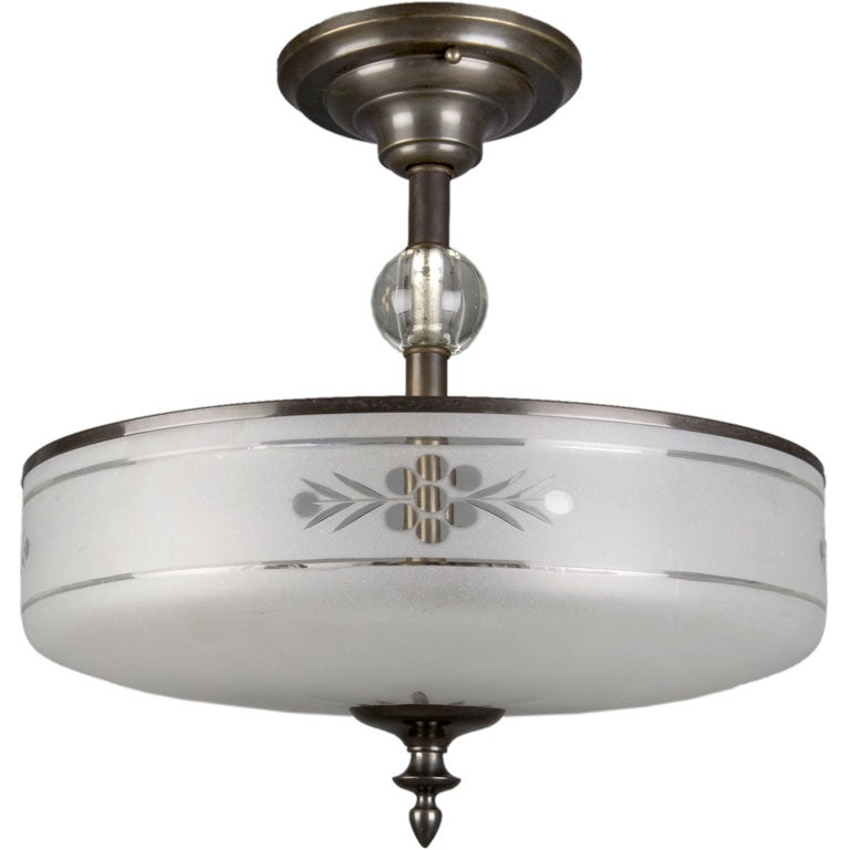 A Frosted Wheel Cut Glass Semi Flush Fixture At 1stdibs