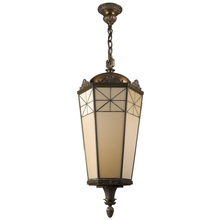 Neoclassical bronze lantern with leaded glass panels at 1stdibs