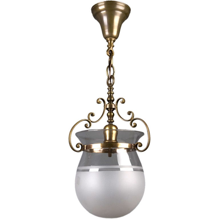 A Frosted Glass And Dark Brass Bell Jar Pendant At 1stdibs