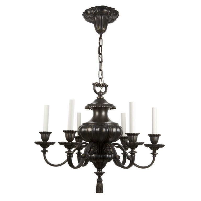 Cora Ceiling Light Bronze 6 Arm : A six arm dark bronze chandelier at stdibs