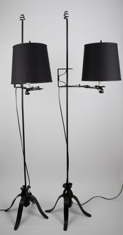 A Pair Of Black Wrought Iron Swing Arm Floor Lamps At 1stdibs