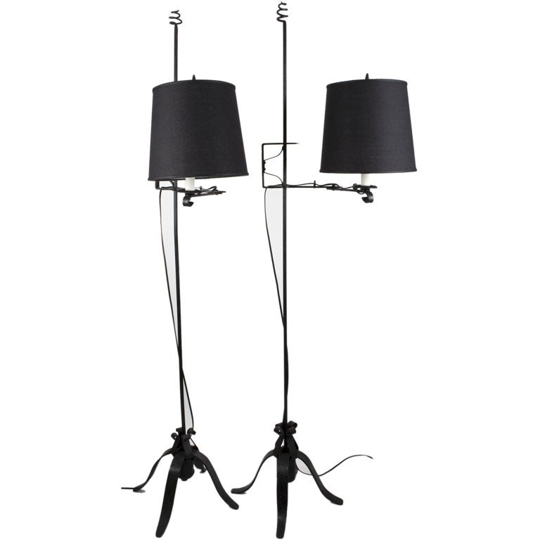 A pair of black wrought iron swing arm floor lamps at 1stdibs a pair of black wrought iron swing arm floor lamps for sale mozeypictures Choice Image