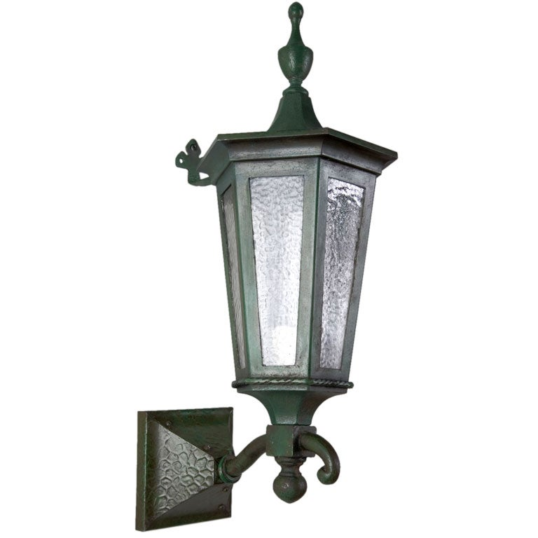 A verdigris exterior wall lantern at 1stdibs
