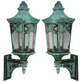 A pair of large exterior wall lanterns