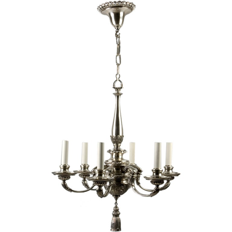 A six-light silver chandelier at 1stdibs