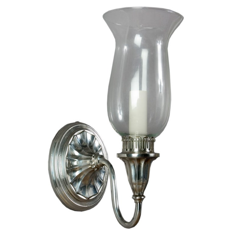 Hurricane Wall Light : A single silverplate hurricane sconce at 1stdibs