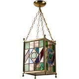 A leaded glass square lantern fixture