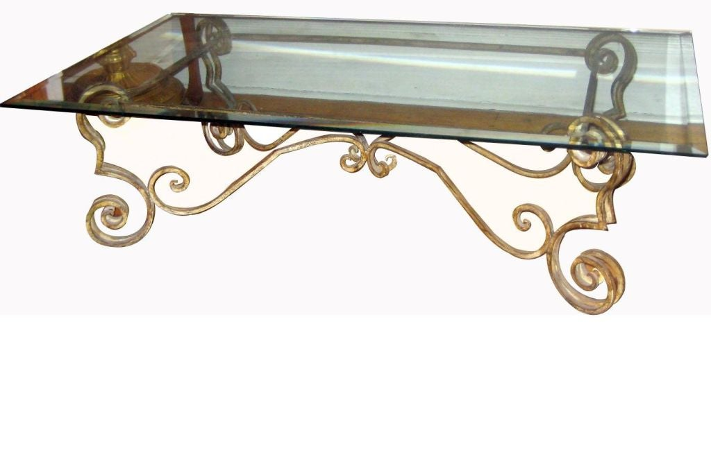 Wrought iron coffee table with glass top at 1stdibs for Square wrought iron coffee table