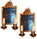 Pair Nautical Sconces with Ships