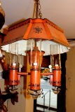 Burnt Orange Tole Light Fixture