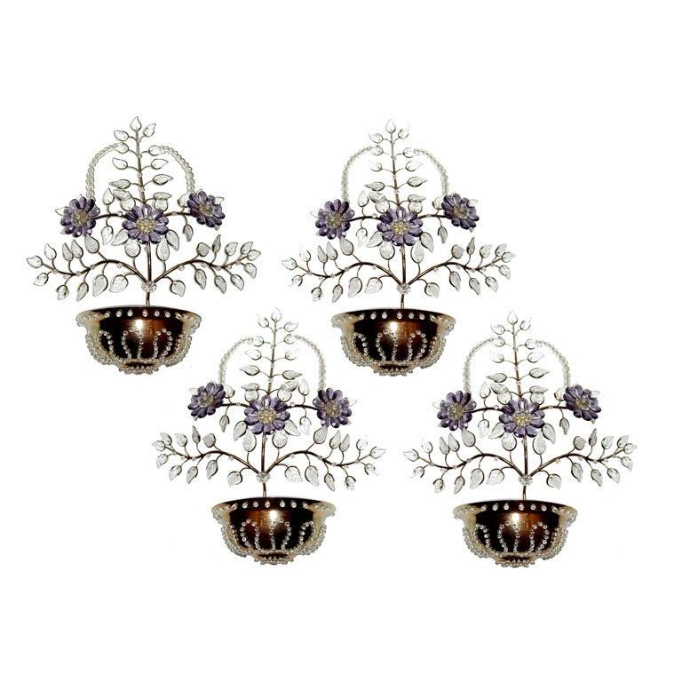 Set of Four Gilt Bronze Crystal Sconces