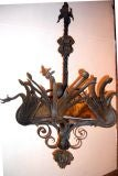 Wrought Iron Chandelier with Dragons