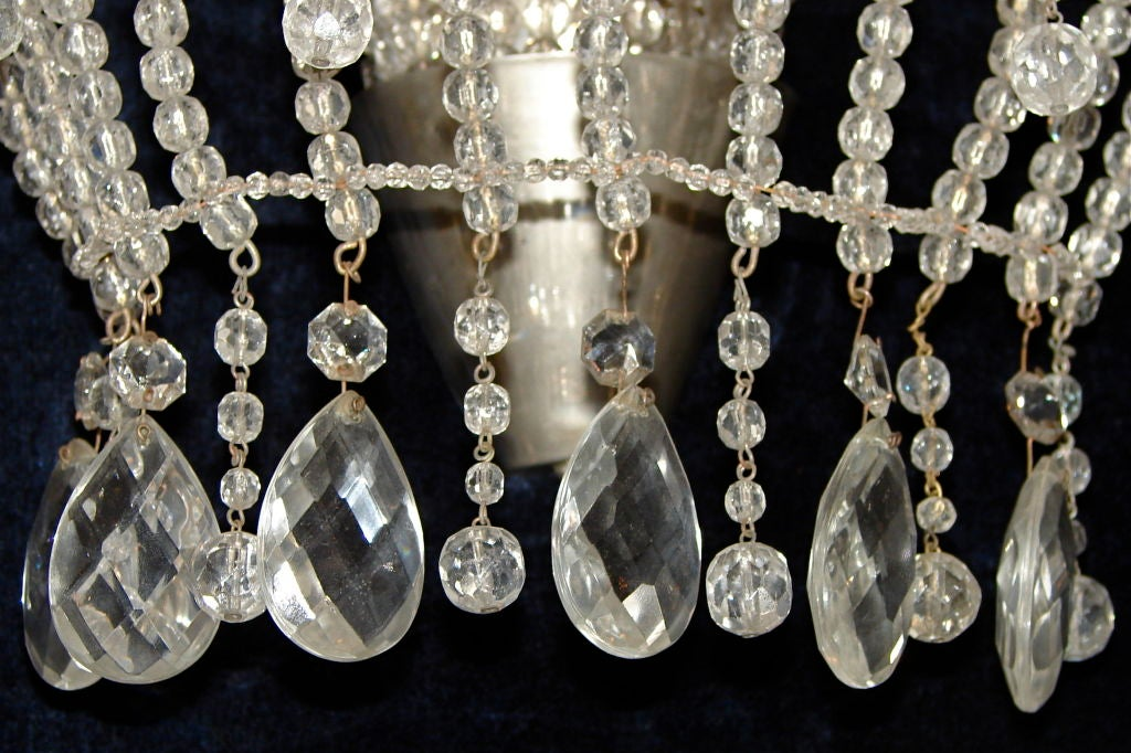 Beaded Crystal Wall Sconces : Crystal Beaded Bagues Sconces For Sale at 1stdibs