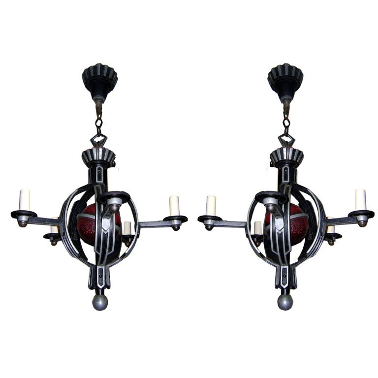 Pair Of Deco Chandeliers At 1stdibs