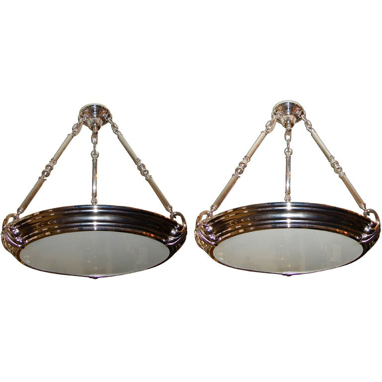 Pair Of Nickel Plated Light Fixtures At 1stdibs