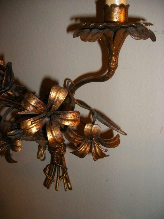 Gilt Metal Floral Sconces at 1stdibs