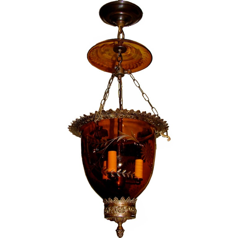 Set of 12 Amber Glass Lanterns