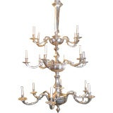 Large Silver Plated Three-Tiered Chandelier