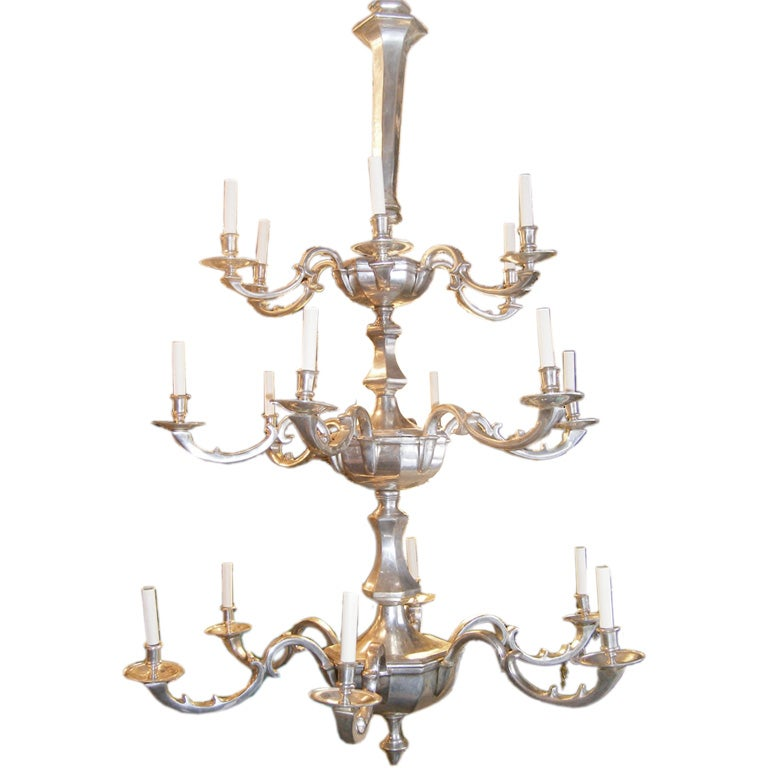 Silver Plated Three Tiered Chandelier For Sale at