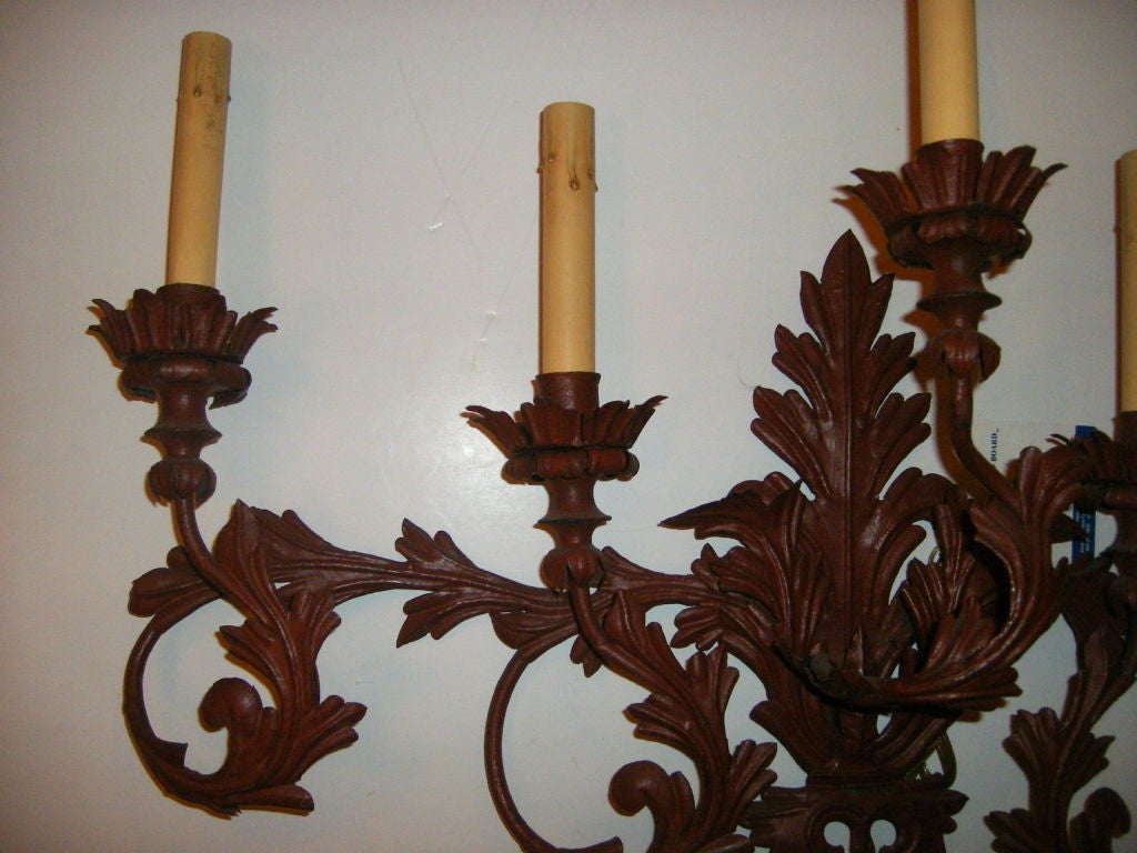 Pair of Large Painted Metal Sconces For Sale at 1stdibs