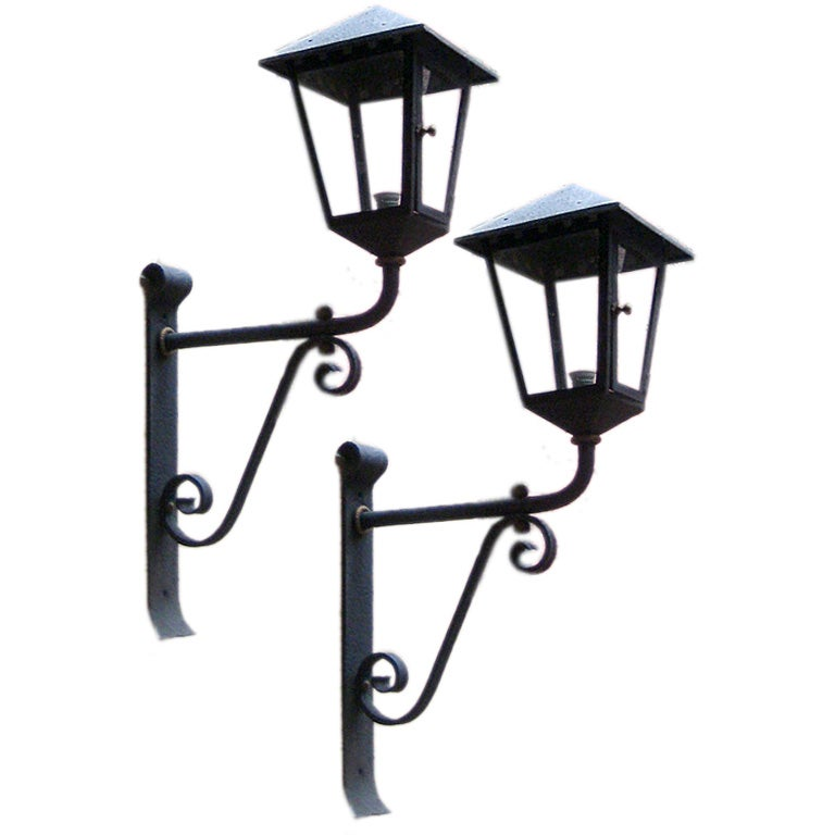 Large Wall Sconces Wrought Iron : Large Wrought Iron Sconce Lanterns at 1stdibs