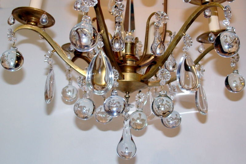Bronze And Crystal Chandelier At 1stdibs
