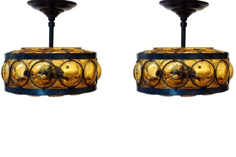 pair of blown glass and wrought iron light fixture at 1stdibs. Black Bedroom Furniture Sets. Home Design Ideas