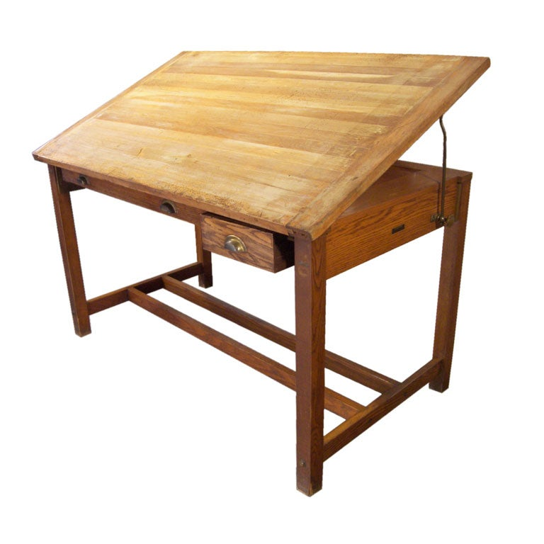 Wooden Dietzgen Drafting Table At 1stdibs