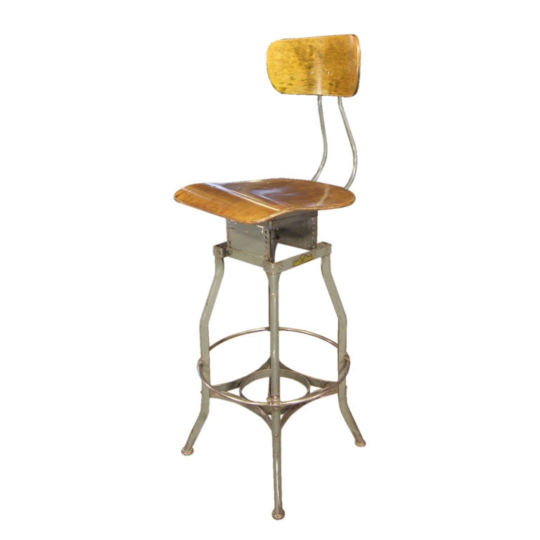 Vintage Wood & Metal Swivel Toledo Stool :  metal wood seating vintage