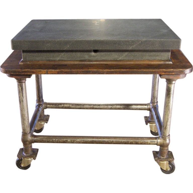 Flip And Fold Rolling Table Stainless Steel Wood: Vintage Industrial Wood And Steel Factory Table Rolling