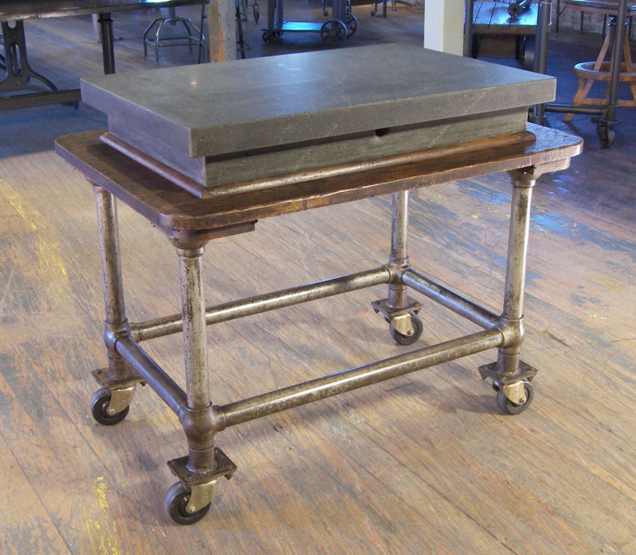 Vintage Industrial Wood and Steel Factory Table Rolling Bar Cart ...