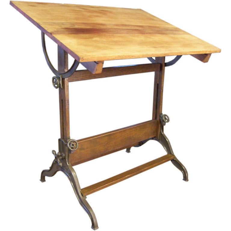 Cast Iron And Wood Dietzgen Drafting Table At 1stdibs
