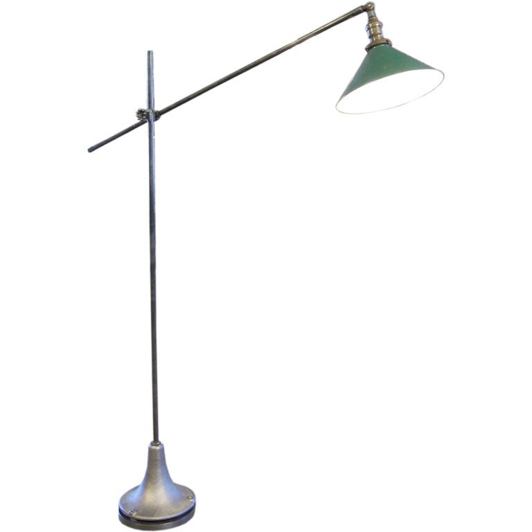 Vintage Factory Metal Cast Iron Floor Lamp Reading Task Light For