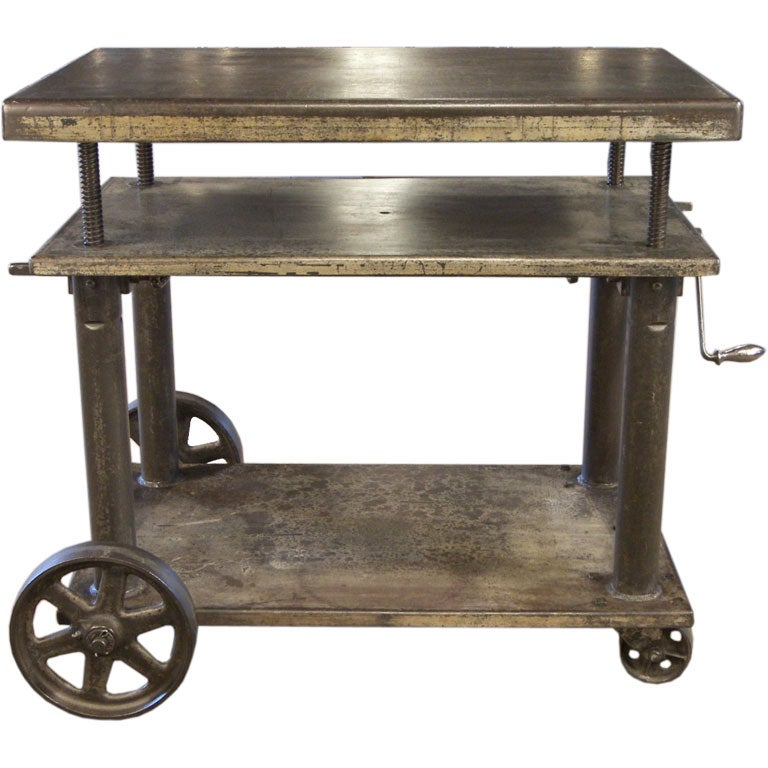 Vintage Industrial Adjustable Lift Table / Cart At 1stdibs