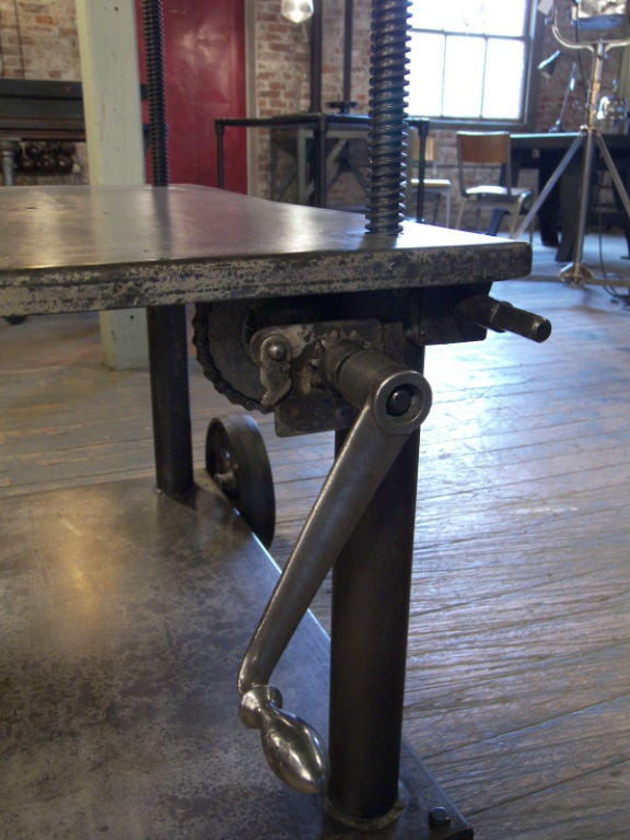 Vintage Industrial Adjustable Lift Table Cart At 1stdibs