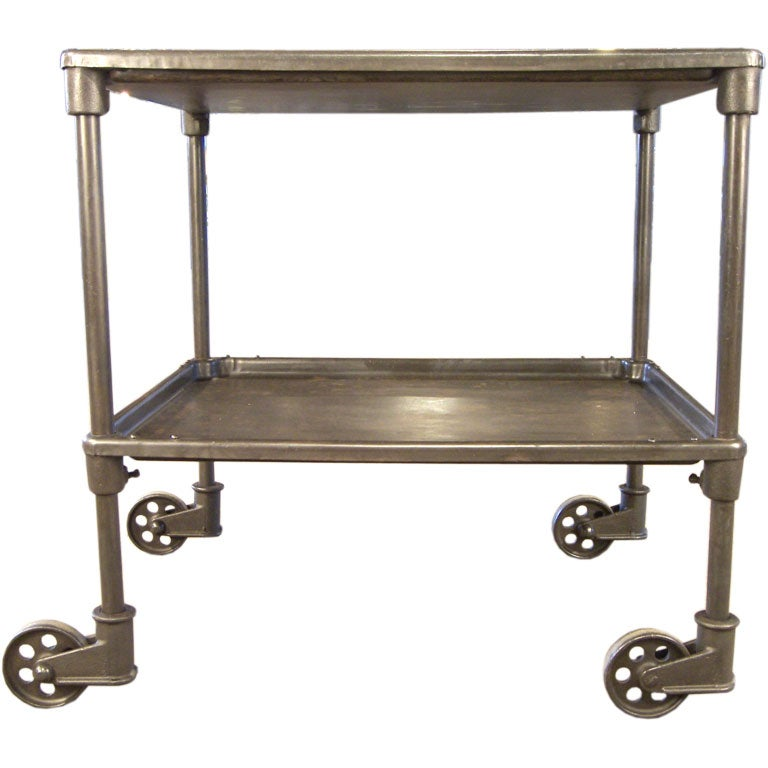 Bentley Industrial Metal And Wood Wheeled Kitchen Serving: Vintage Industrial Two Tier Cart On Casters At 1stdibs