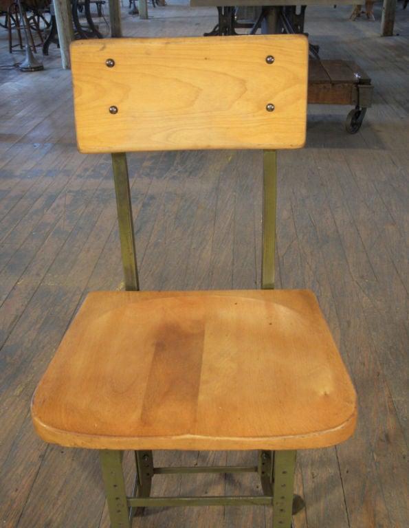 Vintage Industrial Wood And Metal Adjustable Stool At 1stdibs