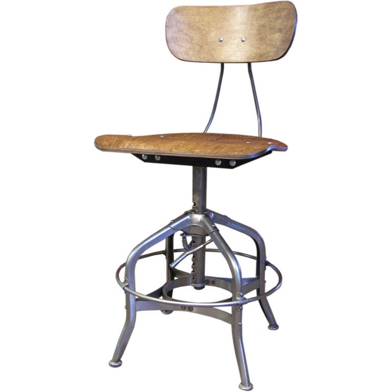 Vintage Industrial Wood And Metal Toledo Desk Stool At 1stdibs