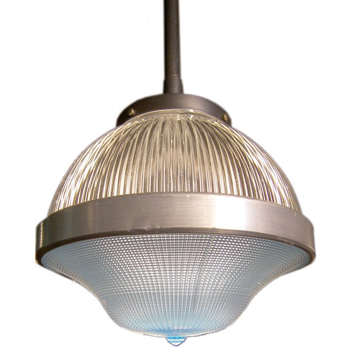Vintage Industrial Glass Pendant Light: Vintage Industrial Glass Holophane Factory Ceiling Light