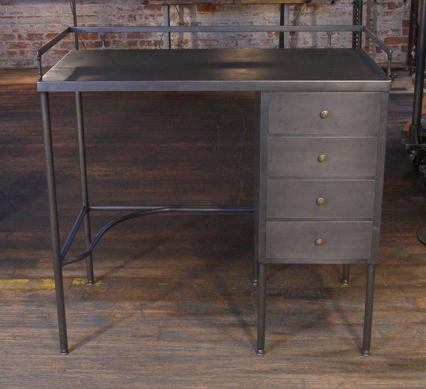Vintage 4 Drawer Industrial Metal Steel Desk At 1stdibs