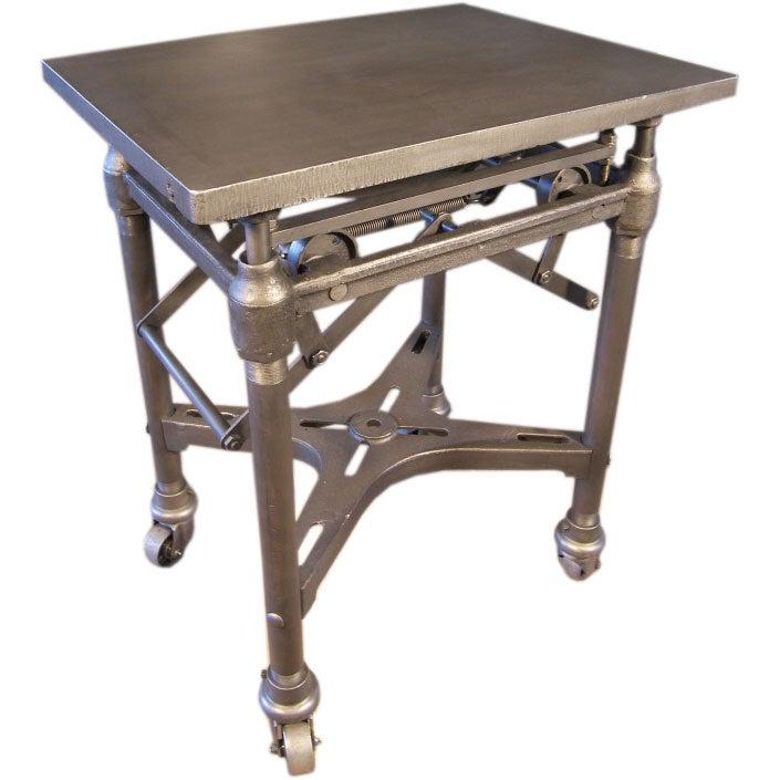 Vintage Industrial Adjustable Metal Turtle Table On Casters At 1stdibs