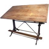 Vintage Industrial Adjustable Wood & Cast Iron Drafting Table