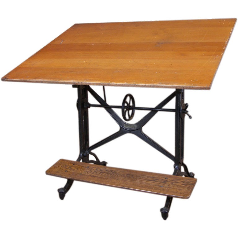 vintage k e american eagle cast iron wood drafting table