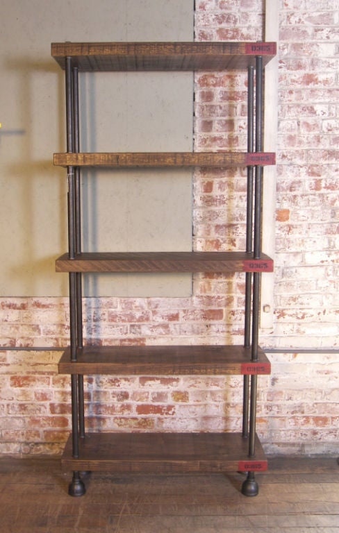 Industrial Wood, Steel (Pipe) Cast Iron Shelving / Storage Unit image ...