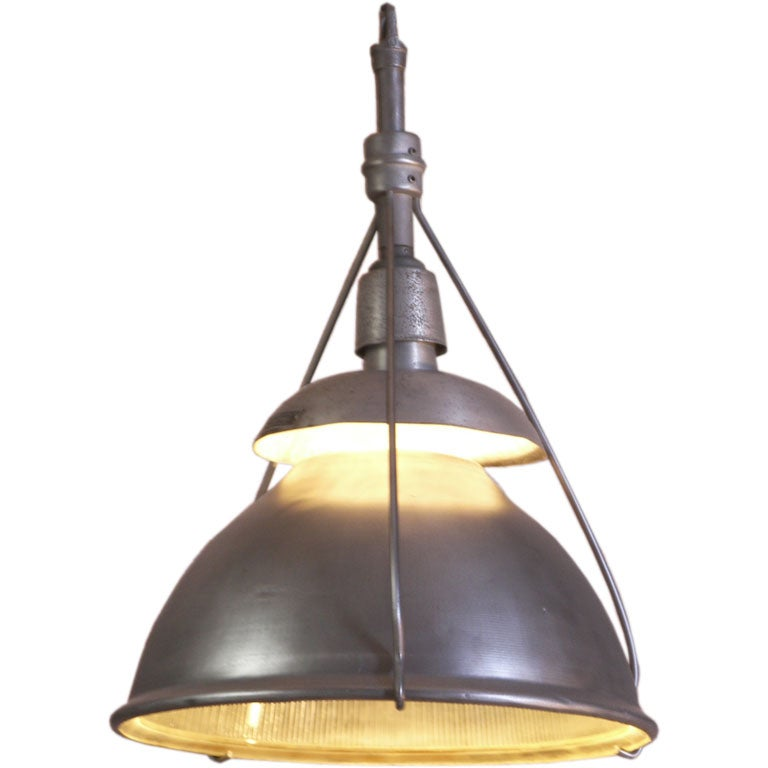 Industrial vintage metal and glass hanging holophane light for Metal hanging lights